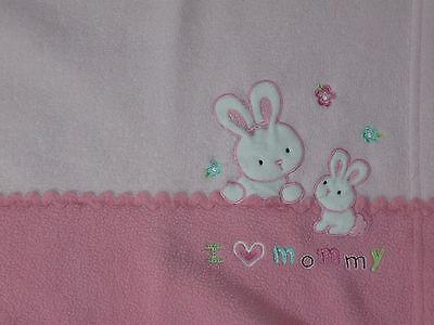 Carter's Child of Mine Pink Bunny  I Love Mommy Blanket Lovey Fleece Girl Baby