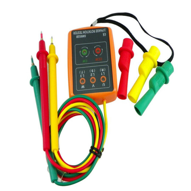 Buzzer F New SM852B 3 Phase Rotation Tester Indicator Detector Meter New w//LED