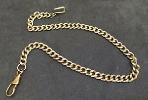ANTIQUE-PINCHBECK-GOLD-FANCY-PATTERNED-POCKET-WATCH-FOB-ALBERT-CHAIN