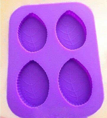 4-Oval Leaf Soap Mould Flexible Silicone Cookie Mold Chocolate Mould Polymer