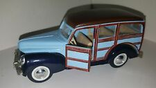 Signature 1940 Ford Woody Wagon Baby blue Brown Friction pull Back Motor