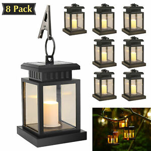Details About Led Candle Lantern Outdoor Hanging Solar Lights Lighting Decoration In Garden