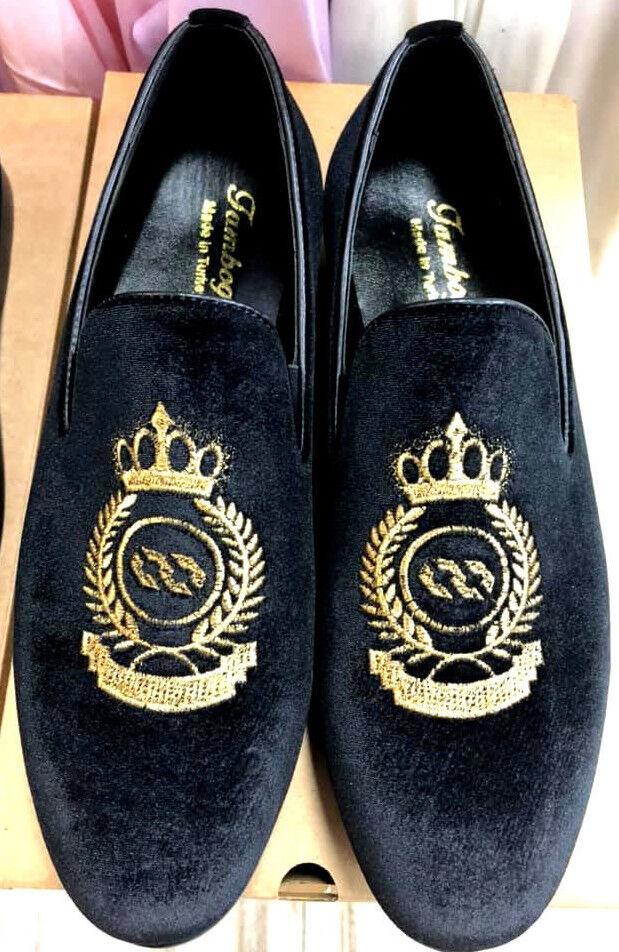 Herren Samt Slipper Schwarz Mokassin Loafers Herrenschuhe König Krone Bestickt    | Verwendet in der Haltbarkeit