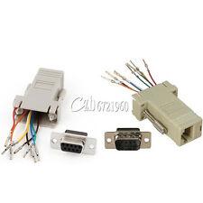 RS232 DB9 RJ45 Male/Female Plug Connector  Female Buchse Ethernet Adapter