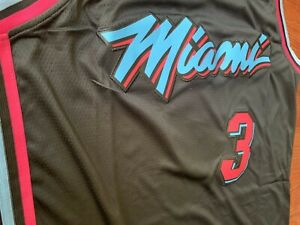 online retailer 4e9dd 4efaa Details about Miami Heat Dwyane Wade #3 White/Black Vice City Edition Mens  Jersey