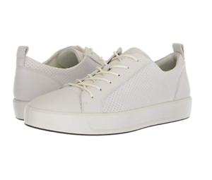 471463564f Details about ECCO Soft 8 Men's Perforated White Tie Sneaker EU 44/ US  10-10.5