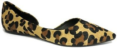 NEW $129 Mollini Hindu Black Leather Ballet Flats Work pointed toe leopard