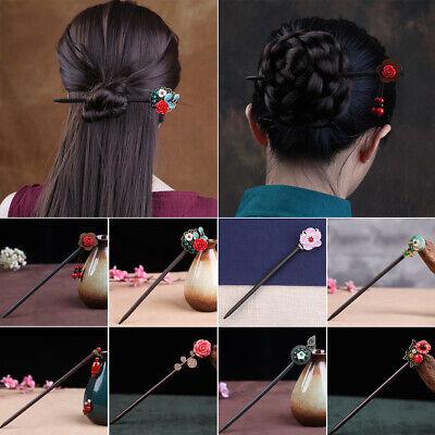 2Pc Retro Wood Peony Hair Stick Handmade Chignon Pin Oriental Japanese Style