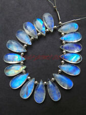 6 PCS Natural Rainbow Moonstone Smooth Pear Briolettes 15x7 MM Loose Gemstone