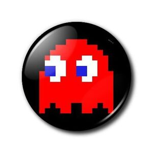 25mm-Button-Badge-Pacman-8-bit-Red-Ghost-Blinky