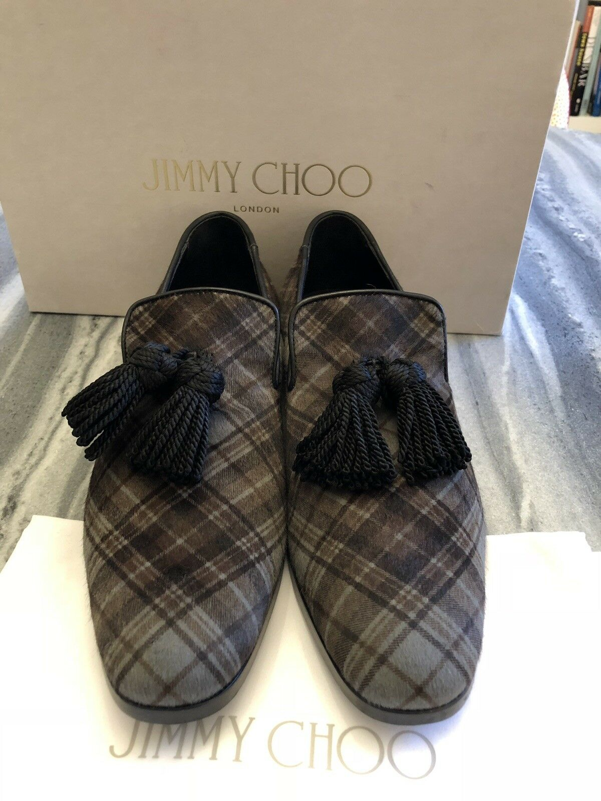 Jimmy Choo Grey Tartan Pony Hair shoes 43