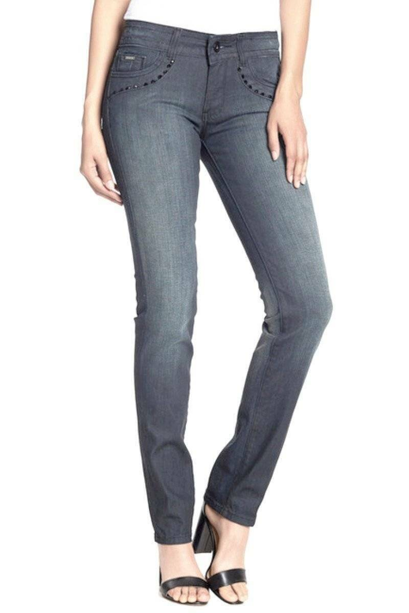 greenigo Embellished Straight Leg Jeans 31 10 12 bluee Shimmering Stones NWT