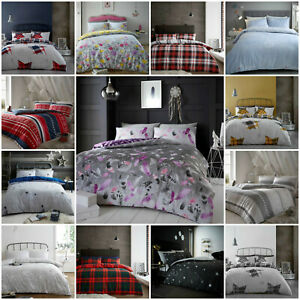 New-Thermal-Warm-100-Brushed-Cotton-Grey-Flannel-Quilt-Duvet-Cover-Bedding-Set
