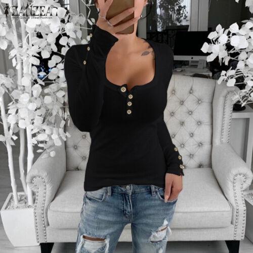 ZANZEA Women Buttons Low Cut Shirt Tops Slim Stretchy Underwear Blouse Plus Tops