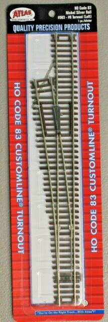 HO Scale - ATLAS Custom Line Code 83 # 563 Left # 6 Turnout Nickel Silver L/H
