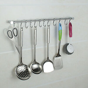 12 hooks kitchen utensil gadget set wall hanging rail for Bathroom utensils