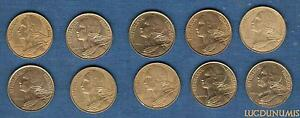 Veme-Republique-1959-Lot-de-10-pieces-de-5-Centimes-Marianne-TB-a-SUP
