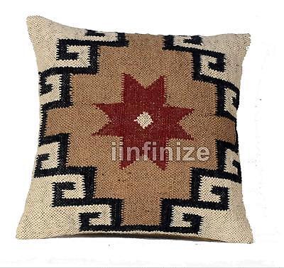 "Decorative Handmade Decor Rug Pillow Cover Jute Cushions Kilim Throw Size18*18/"""