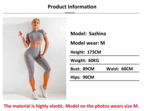 Women Seamless Short Sleeve Yoga Set Crop Top Pants Leggings Gym Yoga Sport Suit