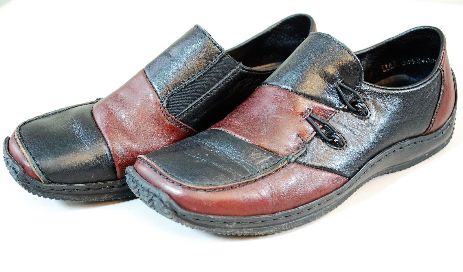Rieker Celia 51 Women's Slip On Loafer shoes EU 36 Black Red Leather Antistress