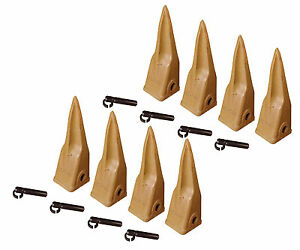 Backhoe Bucket Cat Style Tiger Teeth with pins & retainers, Set of 8, 1U3202TL