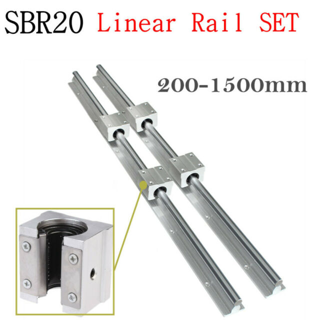 2X SBR20 Linear Rail Slide Guideway Shaft 200-2000mm 4X SBR20UU Block Bearing