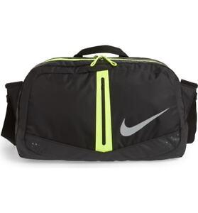 Nike Run Duffel Bag One Size Black Volt Gym Outdoors Men Women ... 7cd5f1274f518
