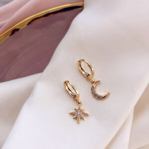 Rhinestone-Star-Hoop-Dangle-Moon-Huggie-Earrings-Drop-1-Pair-Women-Crystal