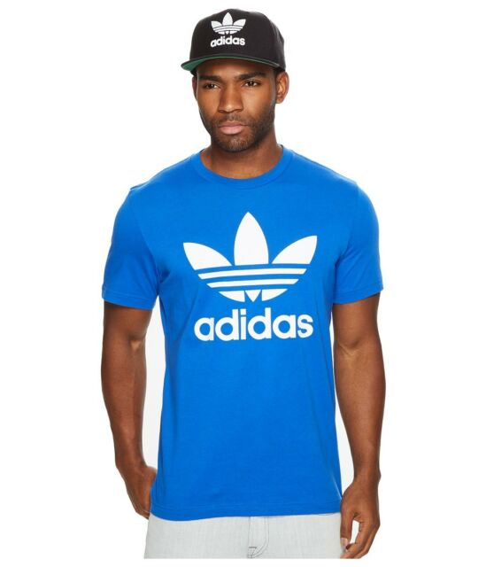 ef050d40b  99 ADIDAS MEN BLUE SHORT-SLEEVE TREFOIL ATHLETIC COTTON CREW NECK TSHIRT  SIZE M