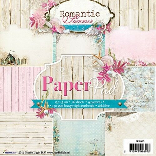 Scrapbooking Papier Studio Light Romantic Summer Block 36 Blättern 15,2x15,2