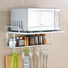 2 Tier Double Bracket Microwave Oven Wall Mount Shelf With Removable Hook Hanger