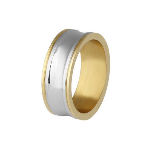 316 L acier inoxydable fashion plaqué or rond Mariage Bande Anneaux Taille 7 8 9 10