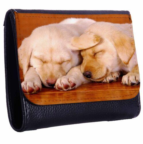 Labrador Puppies Sleeping Together Tri-Fold Wallet w// Button Pocket