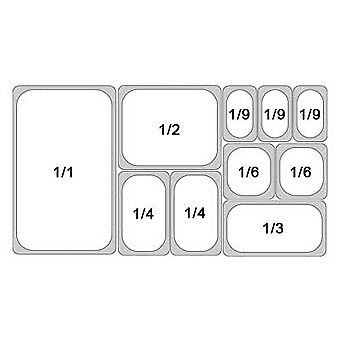 1//9 Gastronorm Containers S//S /& Lid Various Sizes