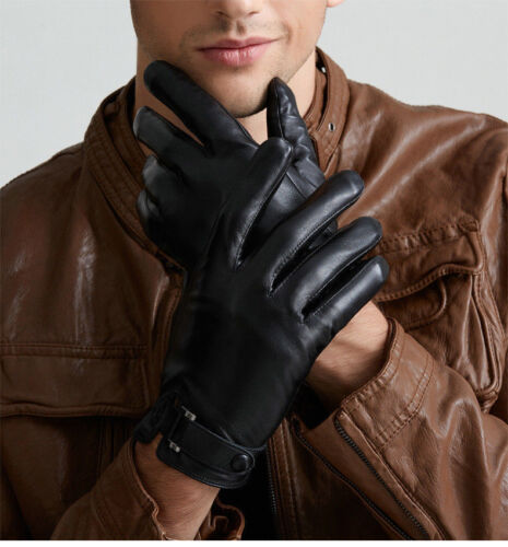 Men/'s Touch screen Genuine Leather Gloves for Texting Driving Cashmere Lining