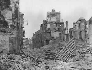 Wwii photo destroyed town in france after d day normandy for Cities destroyed in ww2