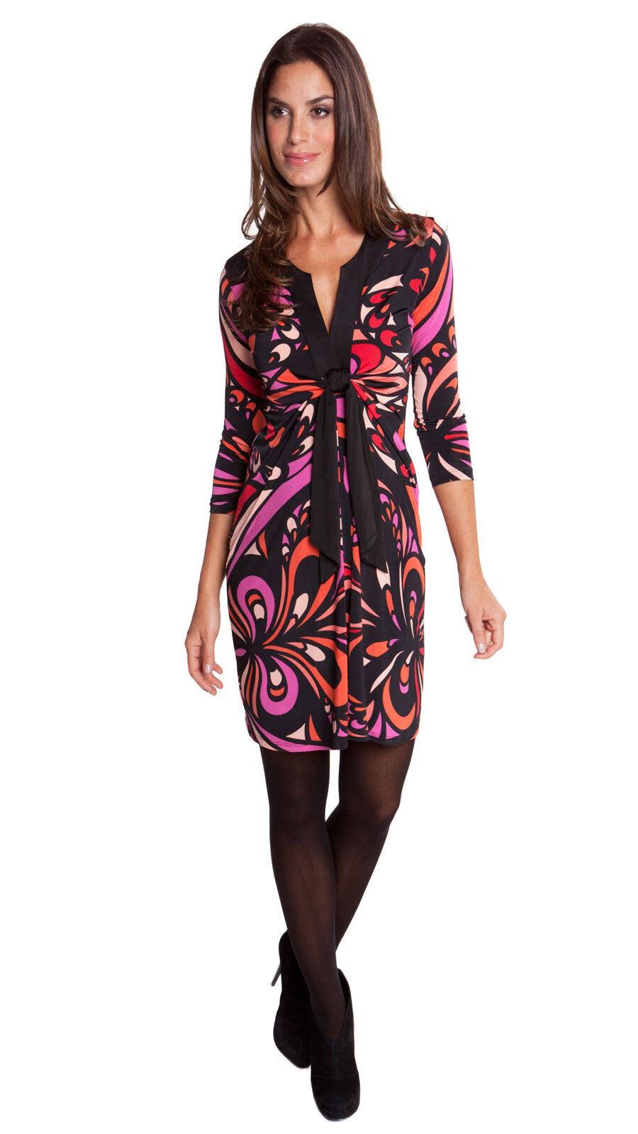 OLIAN Maternity Women's Fuchsia Swirl Print Twist Tie 3 4 Sleeve Dress  148 NWT