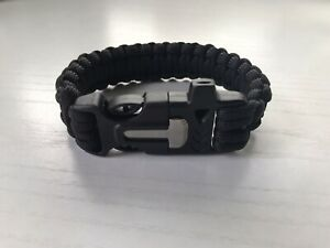 Survival Paracord Bracelet Wristband, Black, Camping Hiking Emergency Gear