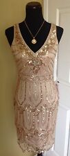 BRAND NEW SUE WONG CHAMPAGNE BEADED SEQUIN SHORT FORMAL COCKTAIL EVENING DRESS 6