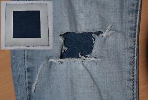 Medium JEANS REPAIR Undercover Patch Faded Blue Denim Square max 6.5cm tear