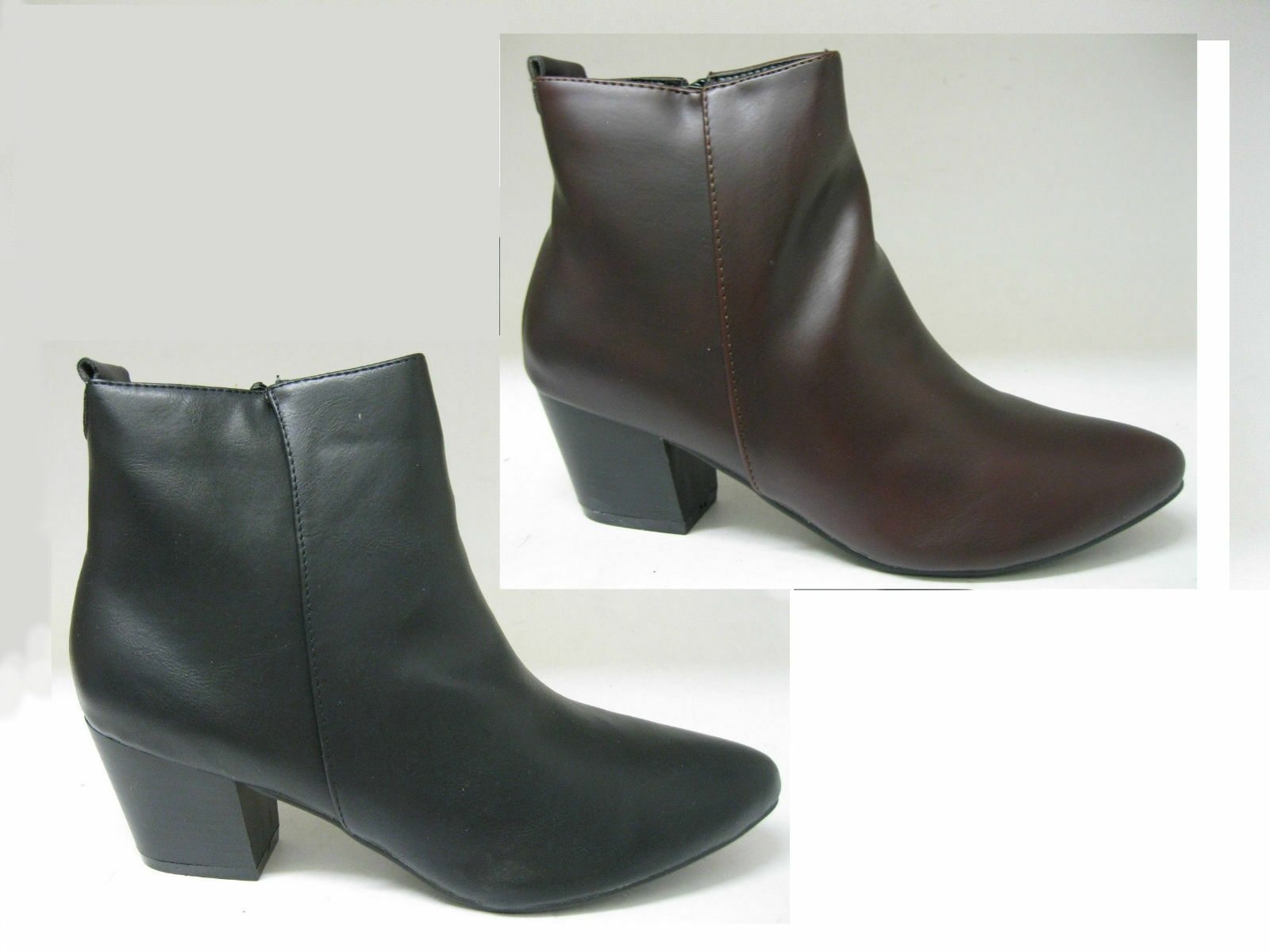 SPOT ON F50360 Ladies Block Heel Ankle Boot with Zip