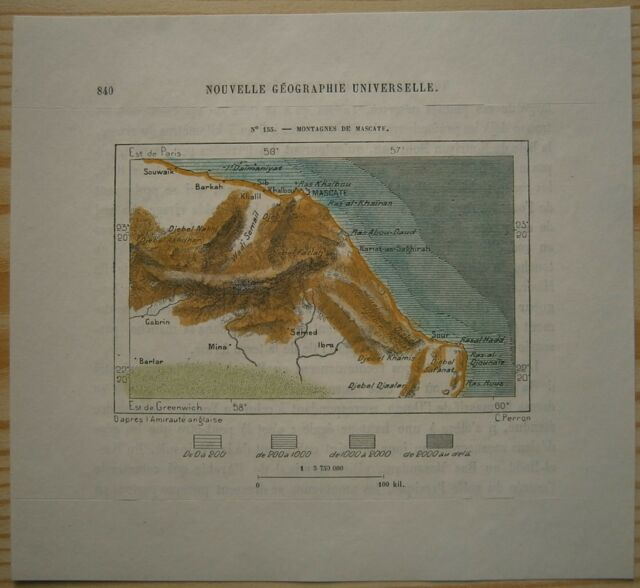 1884 Perron map MOUNTAINS OF MUSCAT, OMAN (#155)