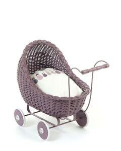 Wicker wood doll's pram colour Dark Rose carriage buggy ...