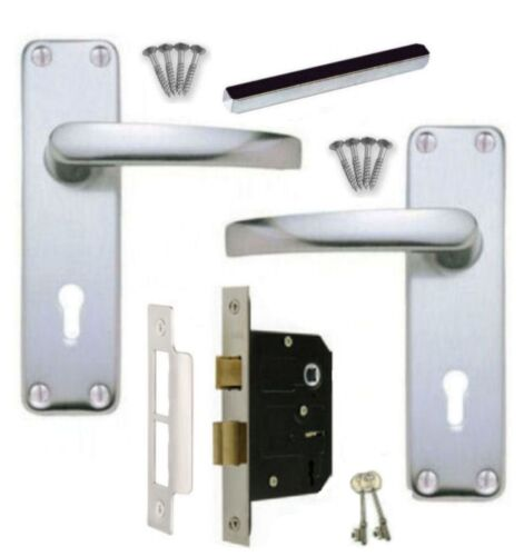 2 Keys SAA Aluminium Handles Lever Lock Door Handle Set 3 Lever 64mm Sashlock