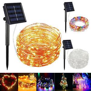 65FT 200LED Solar Fairy String Light Copper Wire Outdoor Waterproof Garden Decor