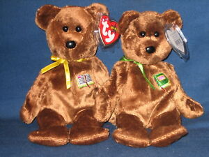 44a59f263a6 TY WILLIAM  OPEN   CLOSED BOOK  BEANIE BABY BEAR SET - MINT with ...