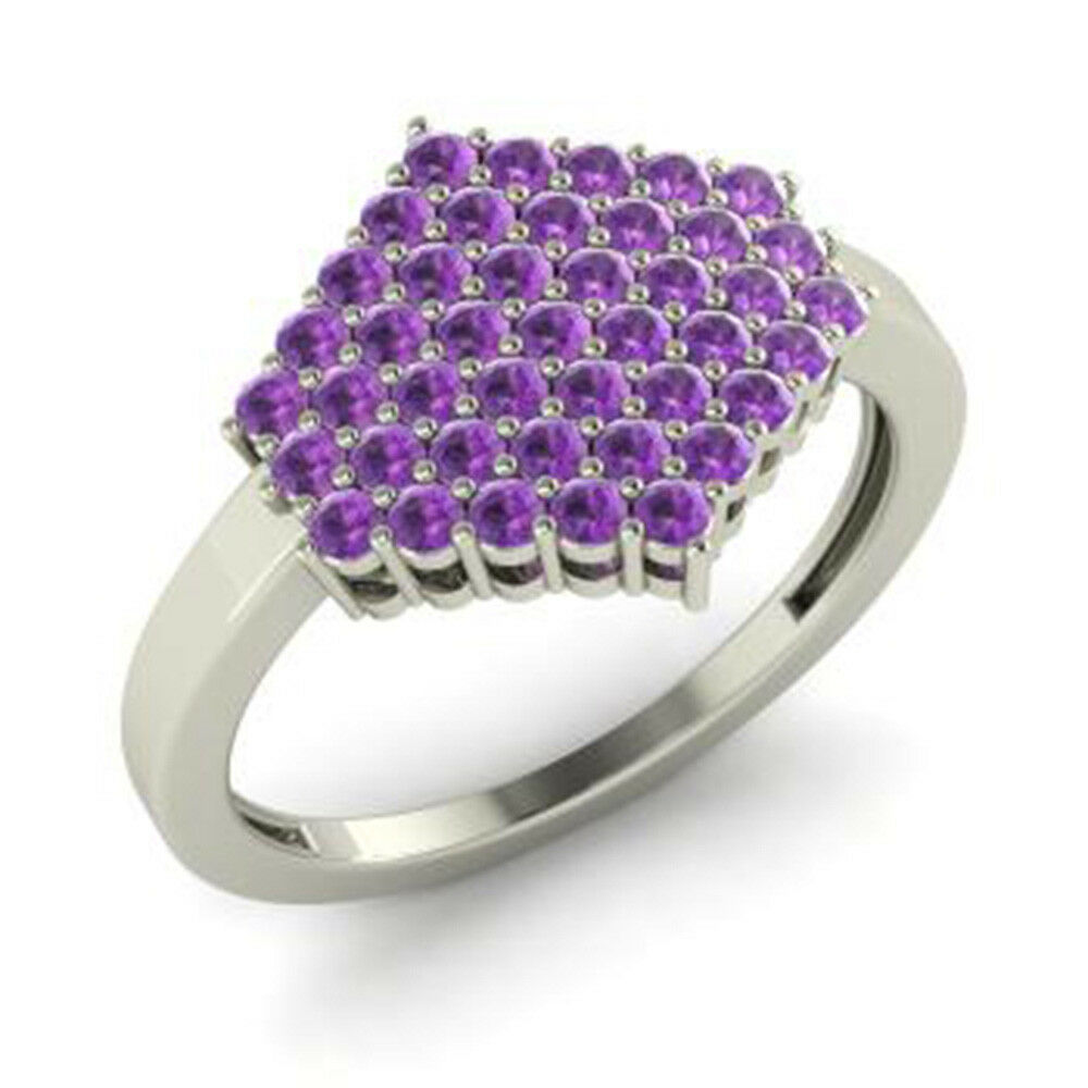 0.86 Ct Real Natural Amethyst Gemstone Engagement Ring Platinum Rings Size 6 7.5