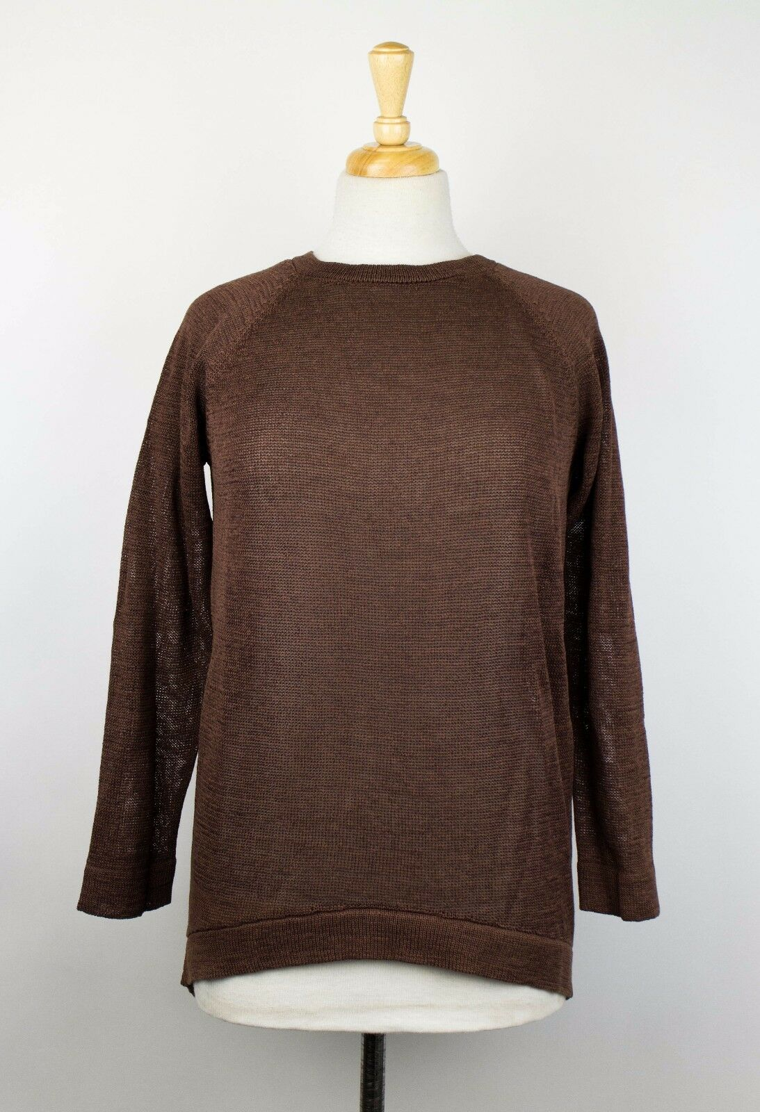 NWT BRUNELLO CUCINELLI Brown Cotton Long Sleeve Knit Hi Lo Sweater Size S