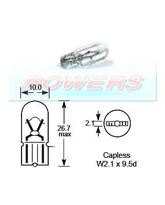 ORIGINAL LUCAS LLB501 W2.1 x 9.5d 12v 5W capless bulb side light R501 501
