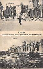 Kalisch Russisch - Polen Bahnhof, Marktplatz nach der Zerstörung 1914